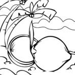 Pintura - Palmeira de Coco Para Imprimir e colorir