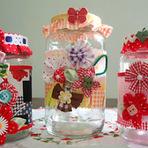 Hobbies - Potes de Vidro com aplicações em Tecido