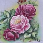 Pintura - Pinturas em tecidos de rosas passo a passo.