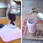 Pintura - Faça você mesmo – Silhueta em potes de vidro que antes iriam pro lixo.