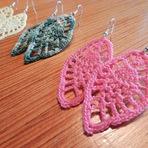 Hobbies - Lindos brincos feitos de crochê.