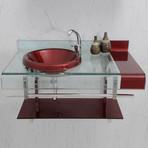 Balcão para banheiro em vidro