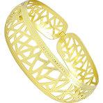 Bracelete folheado a ouro feito de chapa abaulada c/ estampas
